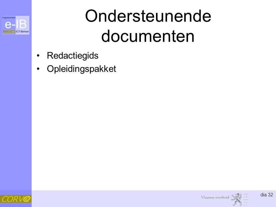 dia 32 Ondersteunende documenten Redactiegids Opleidingspakket
