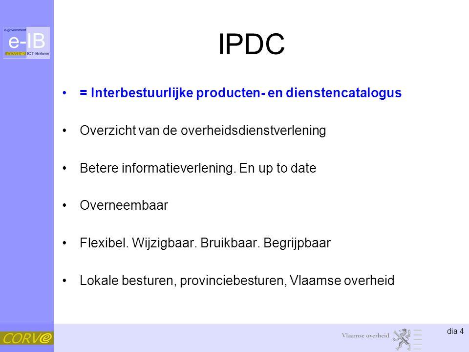 dia 4 IPDC = Interbestuurlijke producten- en dienstencatalogus Overzicht van de overheidsdienstverlening Betere informatieverlening. En up to date Ove