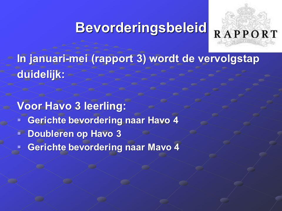 Bevorderingsbeleid In januari-mei (rapport 3) wordt de vervolgstap duidelijk: Voor Havo 3 leerling:  Gerichte bevordering naar Havo 4  Doubleren op Havo 3  Gerichte bevordering naar Mavo 4
