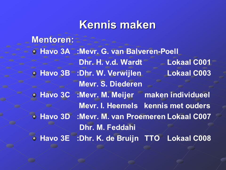 Kennis maken Kennis maken Mentoren: Havo 3A :Mevr.