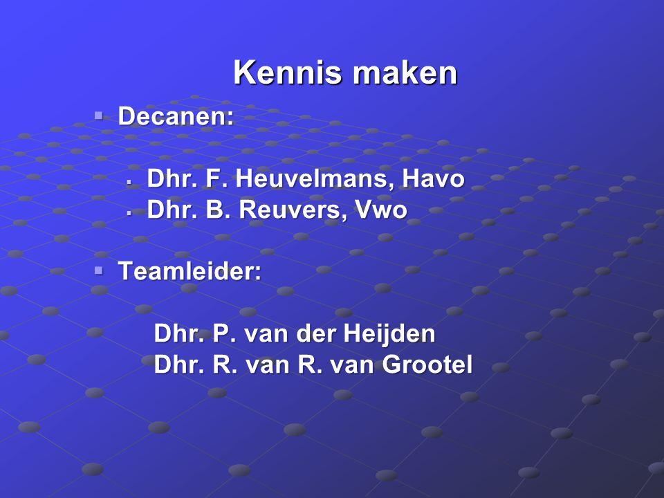 Kennis maken Kennis maken  Decanen:  Dhr. F. Heuvelmans, Havo  Dhr.