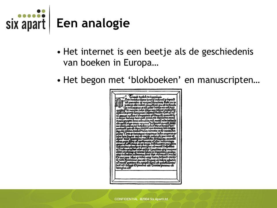 CONFIDENTIAL ©2004 Six Apart Ltd. Een analogie Het internet is een beetje als de geschiedenis van boeken in Europa… Het begon met 'blokboeken' en manu