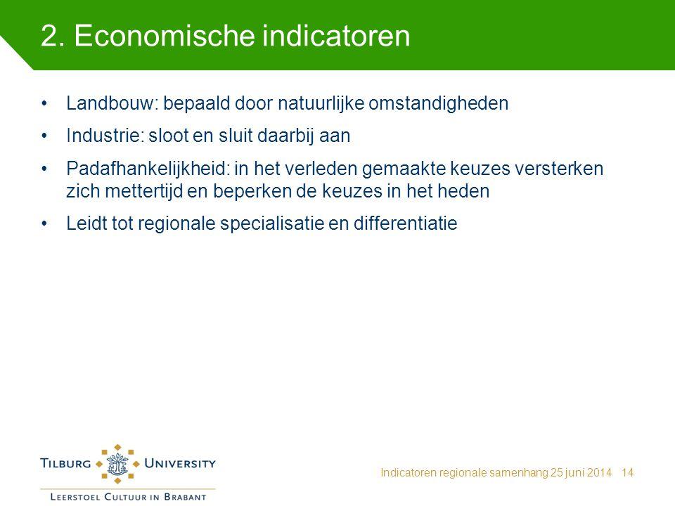 2. Economische indicatoren Indicatoren regionale samenhang 25 juni 201414 Landbouw: bepaald door natuurlijke omstandigheden Industrie: sloot en sluit
