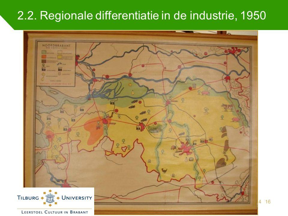 2.2. Regionale differentiatie in de industrie, 1950 Indicatoren regionale samenhang 25 juni 201416