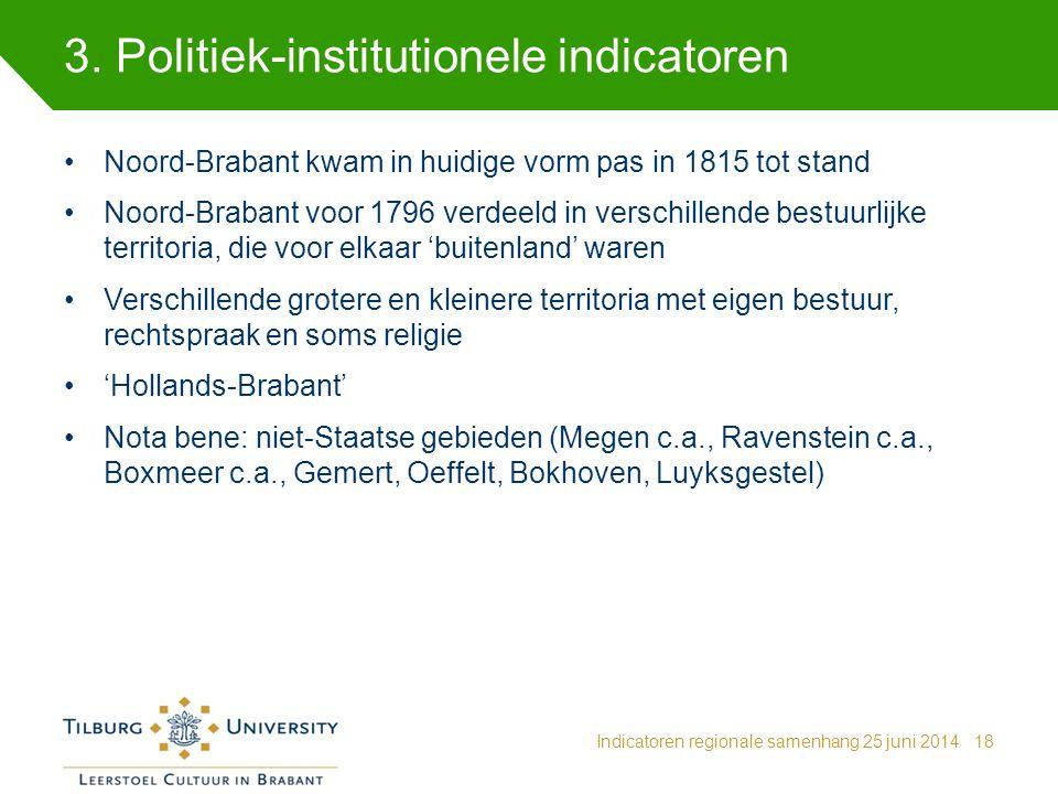 3. Politiek-institutionele indicatoren Indicatoren regionale samenhang 25 juni 201418 Noord-Brabant kwam in huidige vorm pas in 1815 tot stand Noord-B
