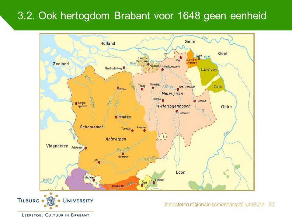 3.2. Ook hertogdom Brabant voor 1648 geen eenheid Indicatoren regionale samenhang 25 juni 201420