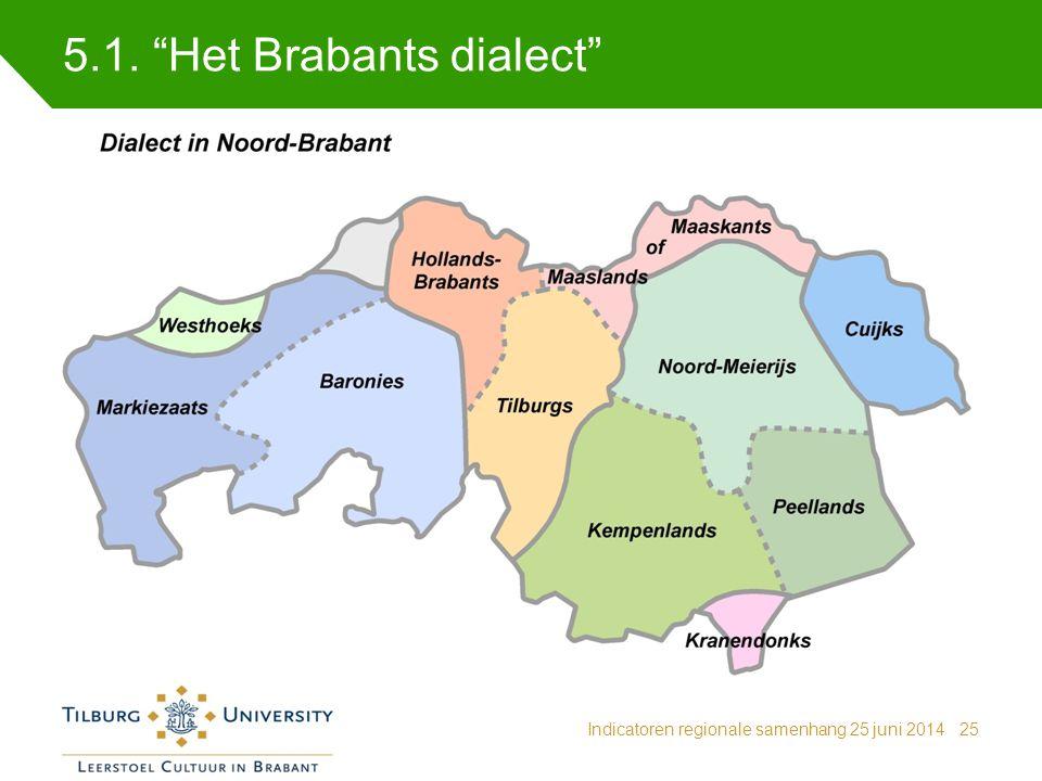 """5.1. """"Het Brabants dialect"""" Indicatoren regionale samenhang 25 juni 201425"""