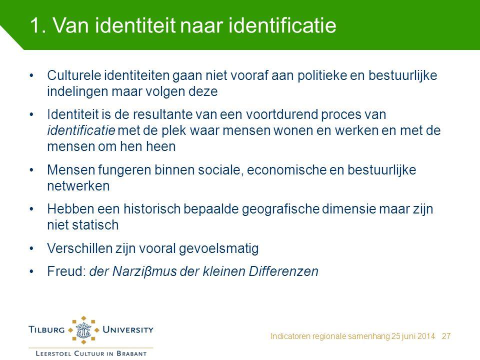 1. Van identiteit naar identificatie Indicatoren regionale samenhang 25 juni 201427 Culturele identiteiten gaan niet vooraf aan politieke en bestuurli