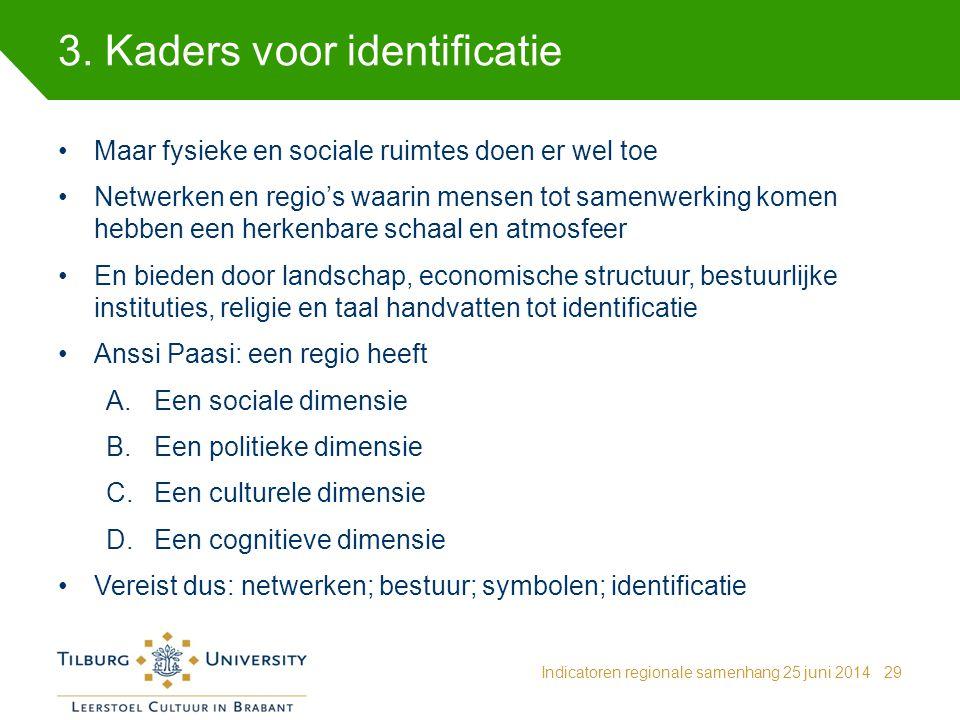 3. Kaders voor identificatie Indicatoren regionale samenhang 25 juni 201429 Maar fysieke en sociale ruimtes doen er wel toe Netwerken en regio's waari