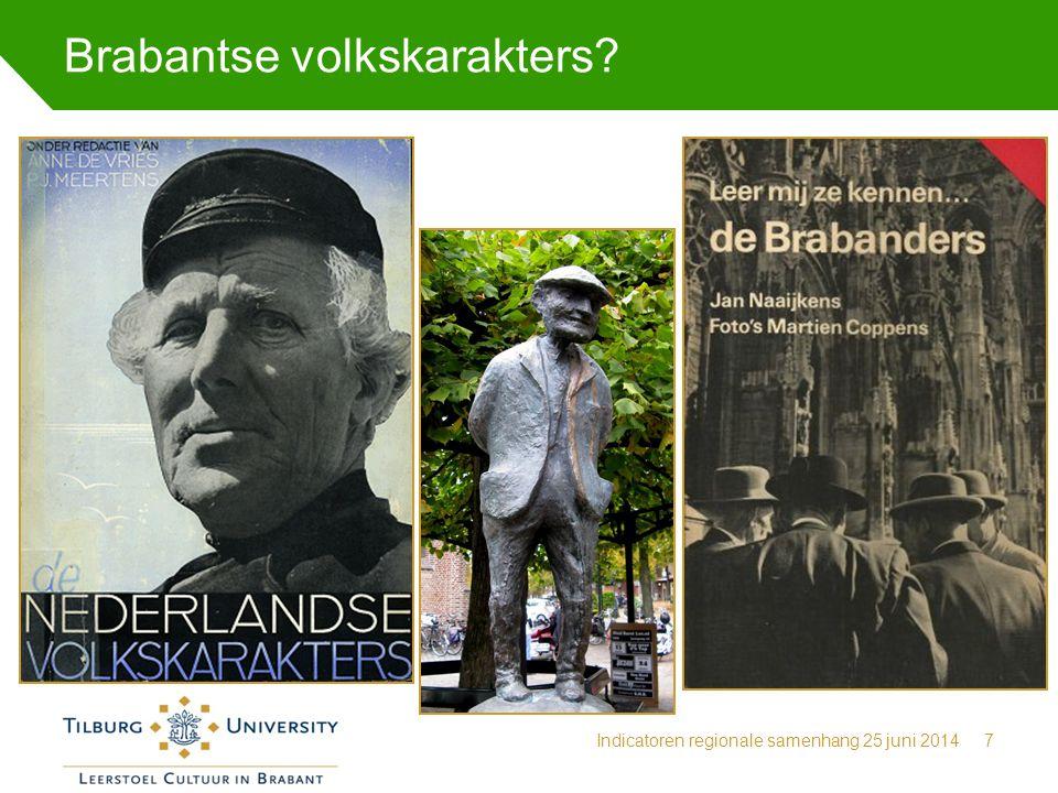 Brabantse volkskarakters? Indicatoren regionale samenhang 25 juni 20147