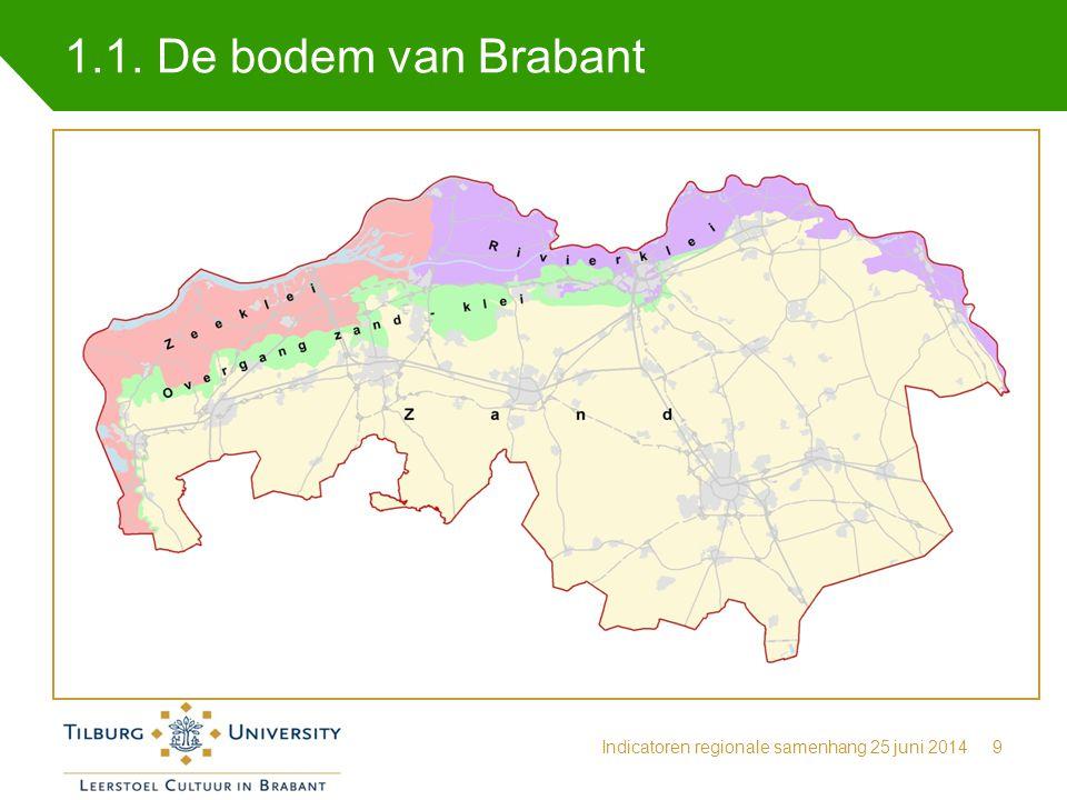 1.1. De bodem van Brabant Indicatoren regionale samenhang 25 juni 20149