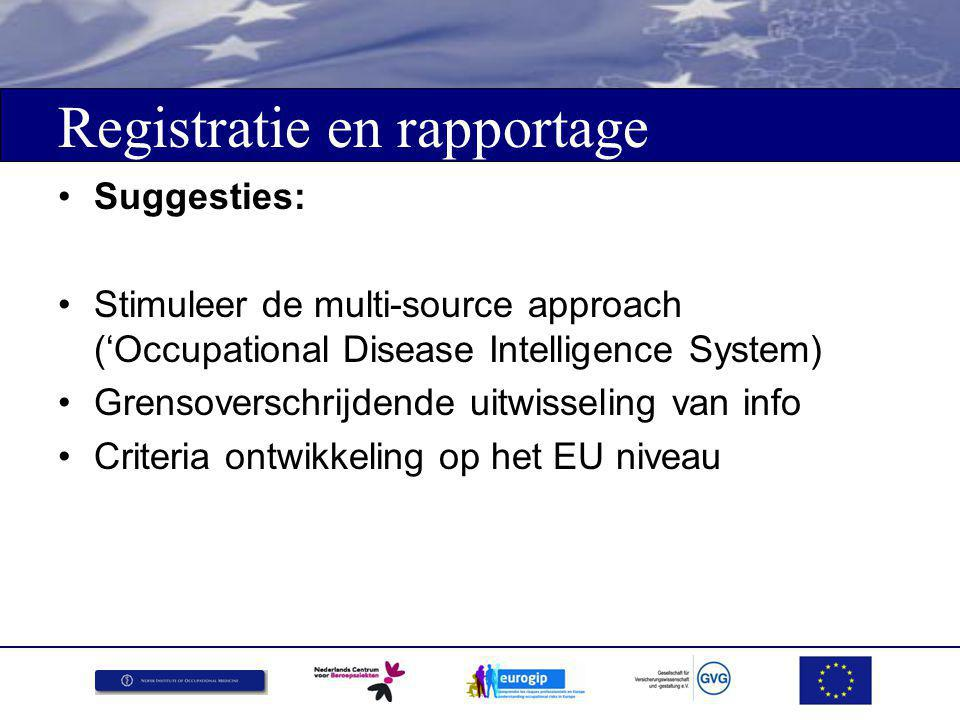 Registratie en rapportage Suggesties: Stimuleer de multi-source approach ('Occupational Disease Intelligence System) Grensoverschrijdende uitwisseling