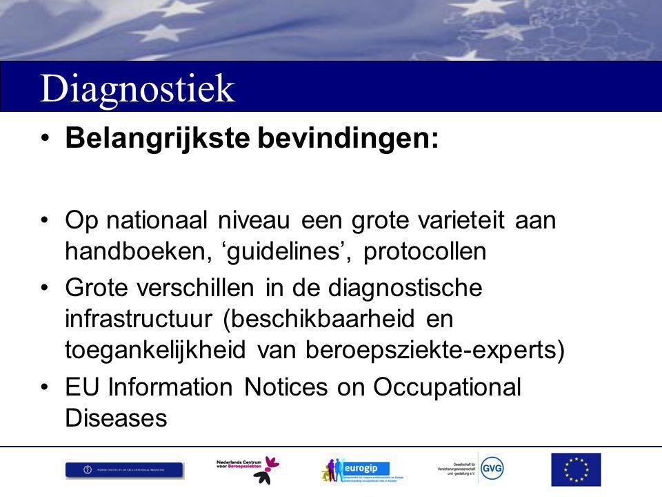 Diagnostiek Belangrijkste bevindingen: Op nationaal niveau een grote varieteit aan handboeken, 'guidelines', protocollen Grote verschillen in de diagnostische infrastructuur (beschikbaarheid en toegankelijkheid van beroepsziekte-experts) EU Information Notices on Occupational Diseases