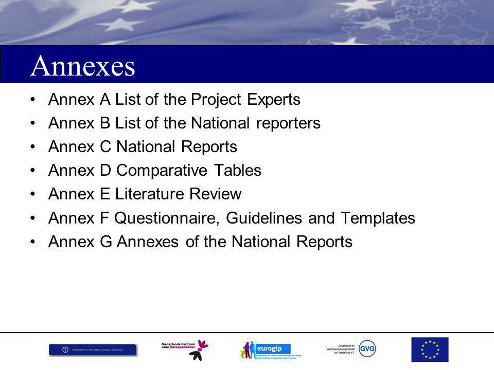 Registratie en rapportage Suggesties: Stimuleer de multi-source approach ('Occupational Disease Intelligence System) Grensoverschrijdende uitwisseling van info Criteria ontwikkeling op het EU niveau