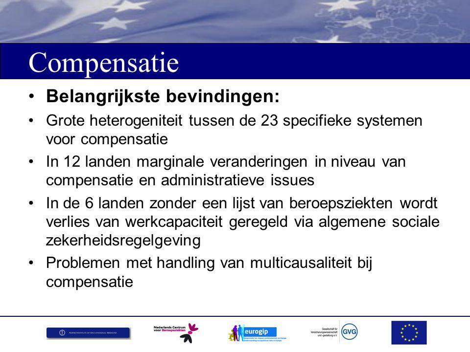 Compensatie Suggesties: Inventarisatie van de manier waarop in lidstaten omgegaan wordt met multicausaliteitskwesties Uitwisseling van ervaringen en 'Good Practices' bij de revalidatie en re-integratie van slachtoffers
