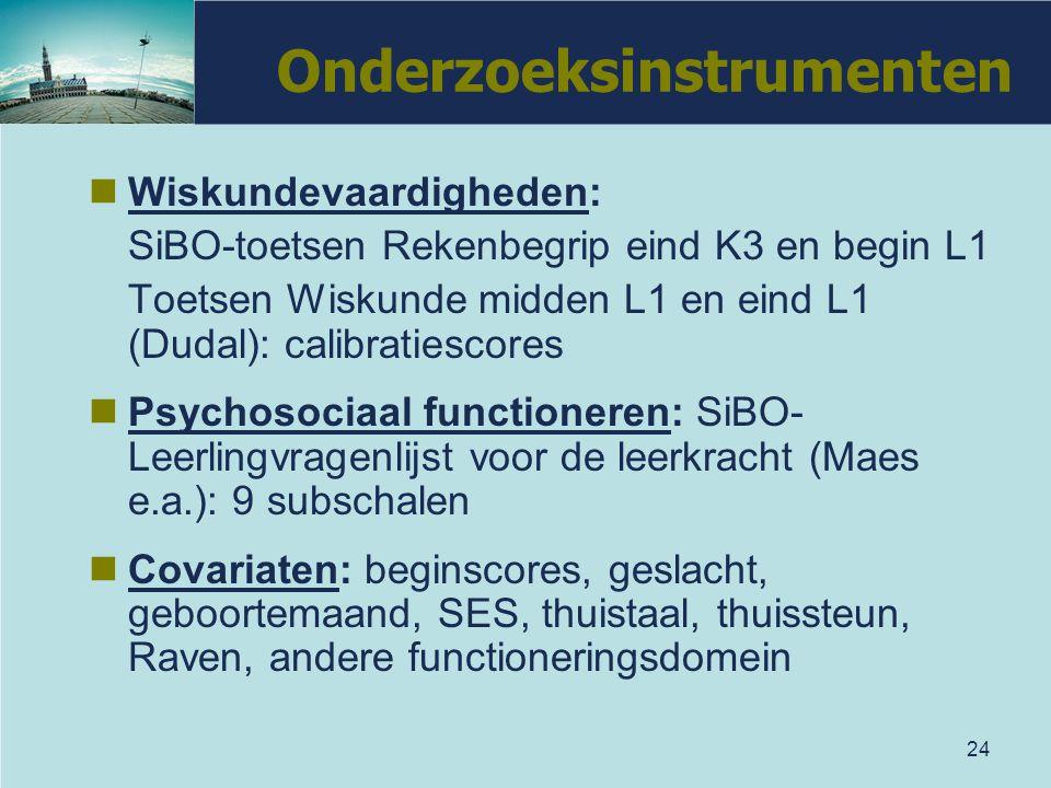 24 Onderzoeksinstrumenten Wiskundevaardigheden: SiBO-toetsen Rekenbegrip eind K3 en begin L1 Toetsen Wiskunde midden L1 en eind L1 (Dudal): calibratie