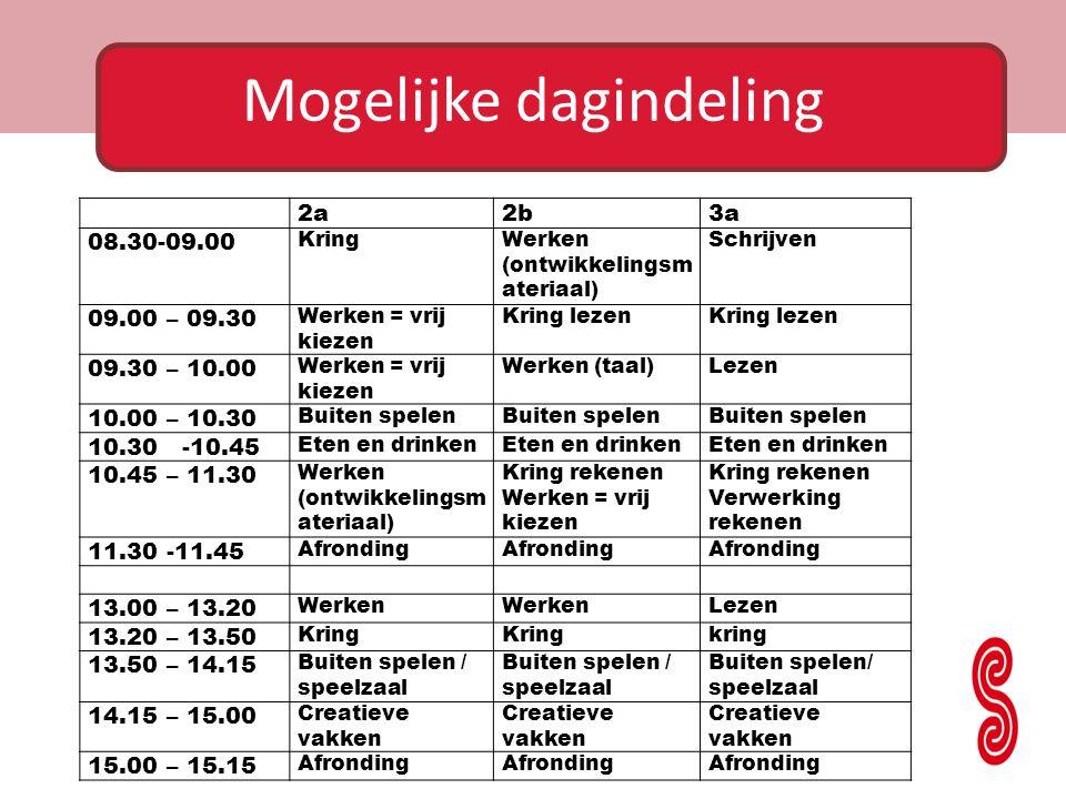 2a2b3a 08.30-09.00 KringWerken (ontwikkelingsm ateriaal) Schrijven 09.00 – 09.30 Werken = vrij kiezen Kring lezen 09.30 – 10.00 Werken = vrij kiezen W