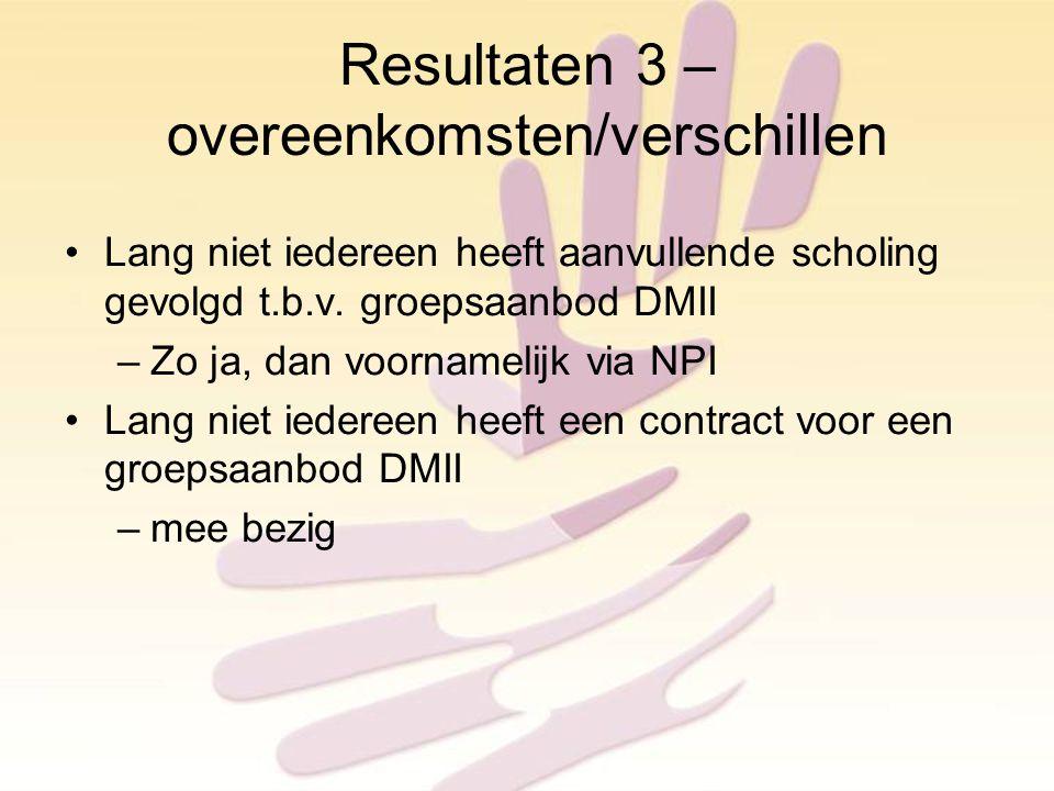 Resultaten 3 – overeenkomsten/verschillen Lang niet iedereen heeft aanvullende scholing gevolgd t.b.v.