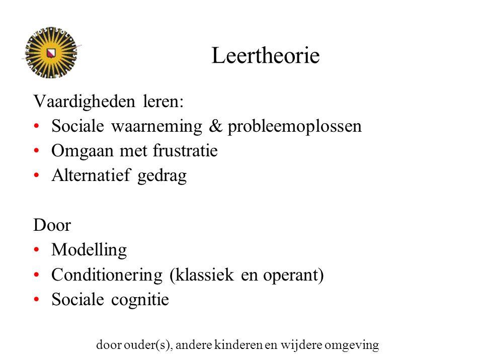 Leertheorie Vaardigheden leren: Sociale waarneming & probleemoplossen Omgaan met frustratie Alternatief gedrag Door Modelling Conditionering (klassiek