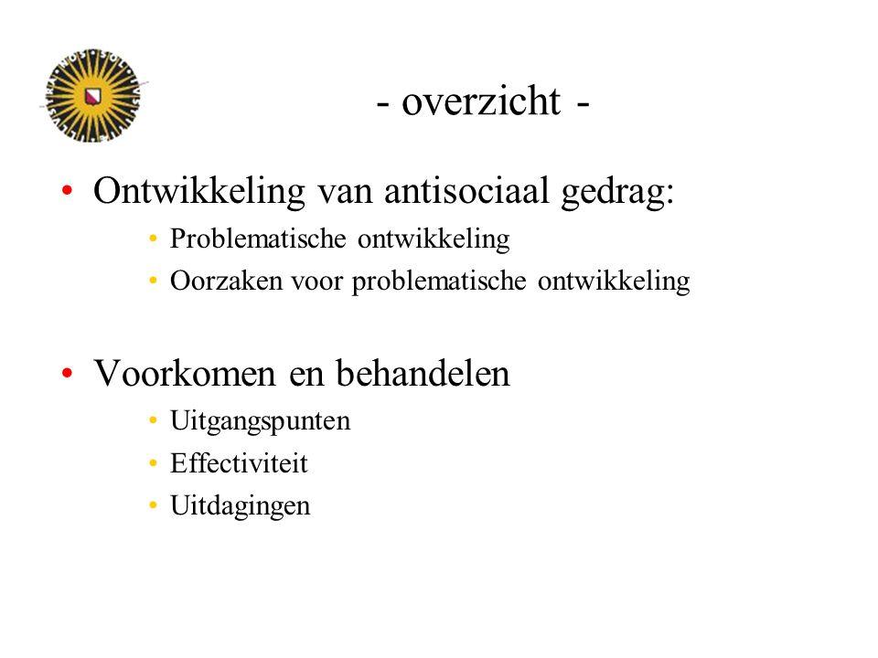 Nederland: wel iets bekend Agressie: –Pittige Jaren (Incredible Years) –Verschillende vormen intensieve gezinsondersteuning –Zelfcontrole –Taakspel (Good Behavior Game) –PAD (PATHS) –(Triple P.