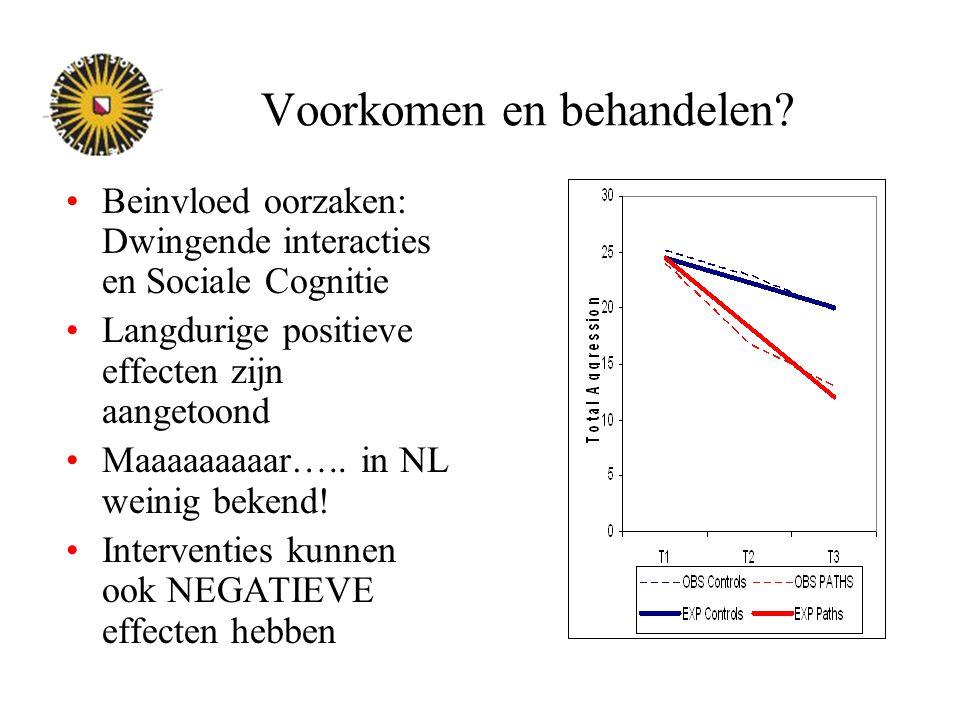 Voorkomen en behandelen? Beinvloed oorzaken: Dwingende interacties en Sociale Cognitie Langdurige positieve effecten zijn aangetoond Maaaaaaaaar….. in