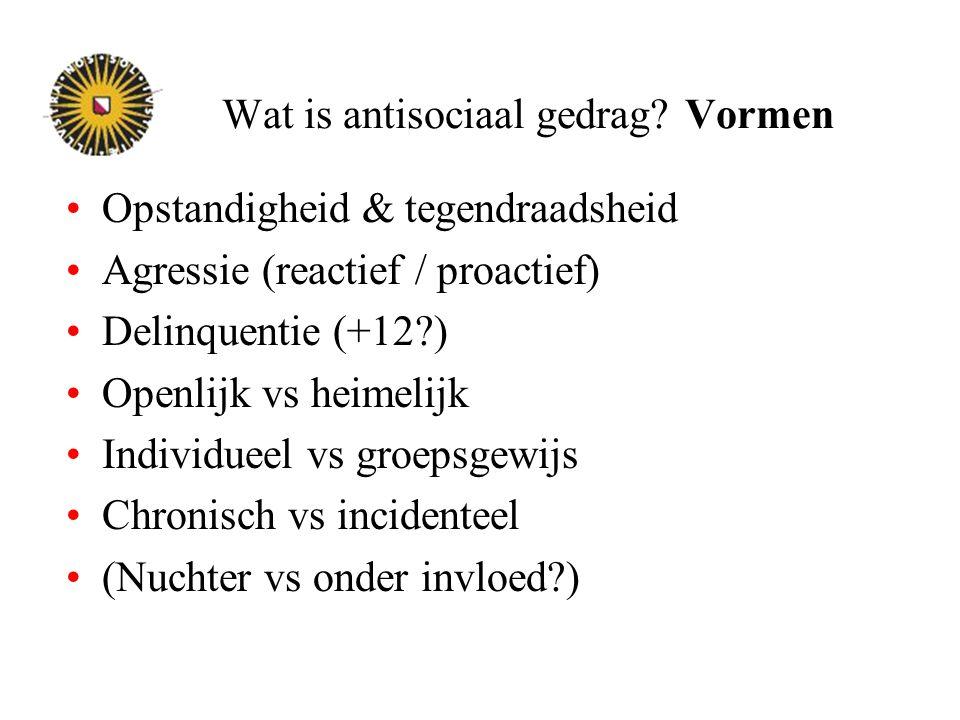Wat is antisociaal gedrag? Vormen Opstandigheid & tegendraadsheid Agressie (reactief / proactief) Delinquentie (+12?) Openlijk vs heimelijk Individuee