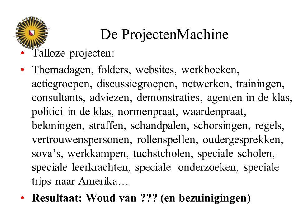 De ProjectenMachine Talloze projecten: Themadagen, folders, websites, werkboeken, actiegroepen, discussiegroepen, netwerken, trainingen, consultants,