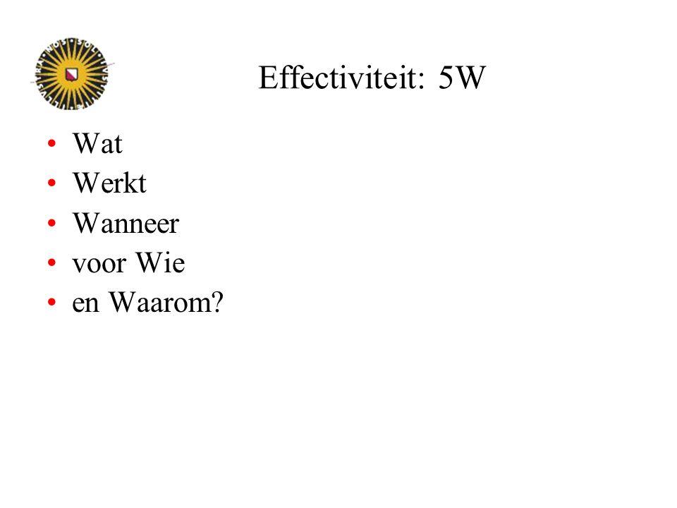 Effectiviteit: 5W Wat Werkt Wanneer voor Wie en Waarom?