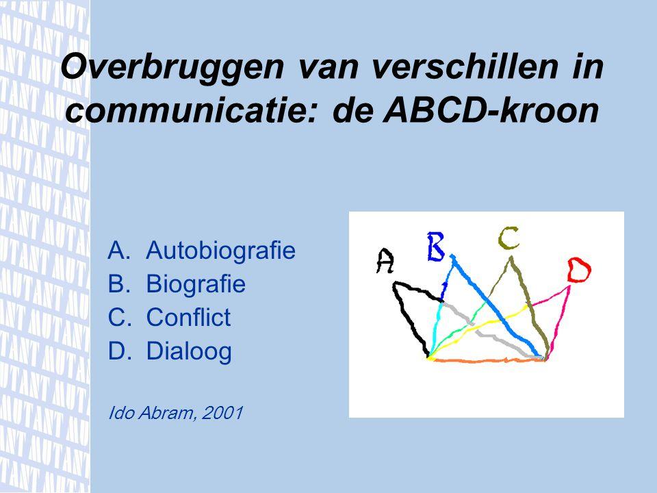 A.Autobiografie B.Biografie C.Conflict D.Dialoog Ido Abram, 2001 Overbruggen van verschillen in communicatie: de ABCD-kroon