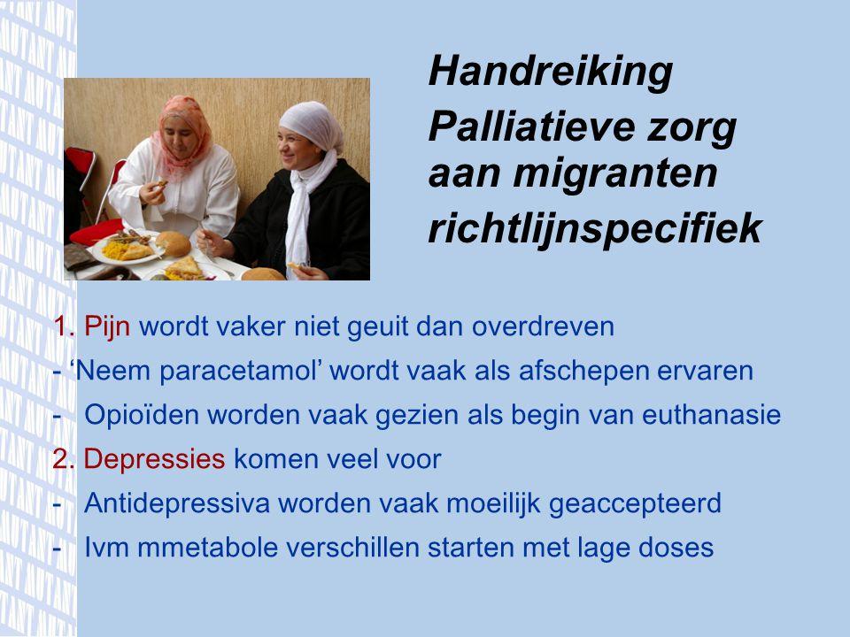 Handreiking Palliatieve zorg aan migranten richtlijnspecifiek 1.Pijn wordt vaker niet geuit dan overdreven - ' Neem paracetamol ' wordt vaak als afsch