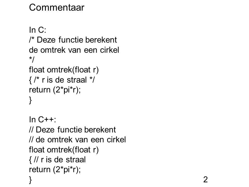 Commentaar In C: /* Deze functie berekent de omtrek van een cirkel */ float omtrek(float r) { /* r is de straal */ return (2*pi*r); } In C++: // Deze functie berekent // de omtrek van een cirkel float omtrek(float r) { // r is de straal return (2*pi*r); }2
