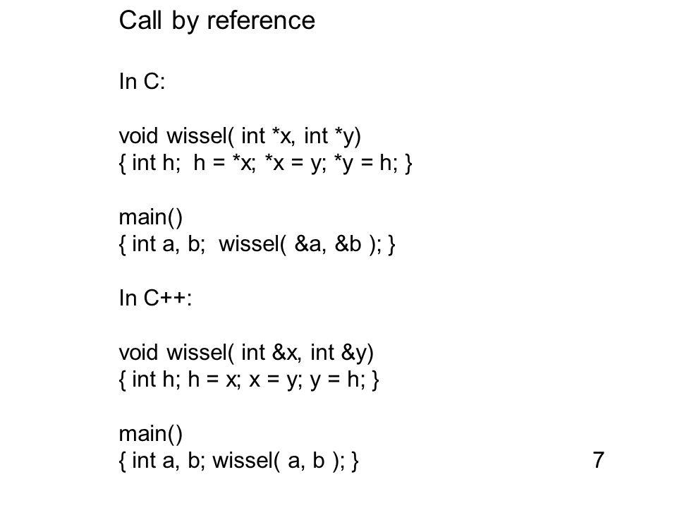 static members in C++ static members van classes worden gedeeld door alle instanties class c { static int n; int x; int y; public: void f() { n++; } void g() { n++; } void h() { printf ( %d keer memberfuncie\gebruikt , n); } }; Implementatie alweer: globale variabele met beperkte scope18