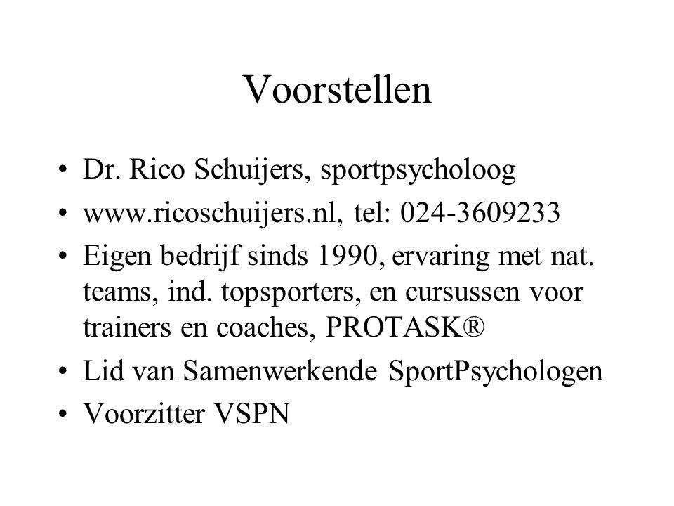 Voorstellen Dr. Rico Schuijers, sportpsycholoog www.ricoschuijers.nl, tel: 024-3609233 Eigen bedrijf sinds 1990, ervaring met nat. teams, ind. topspor