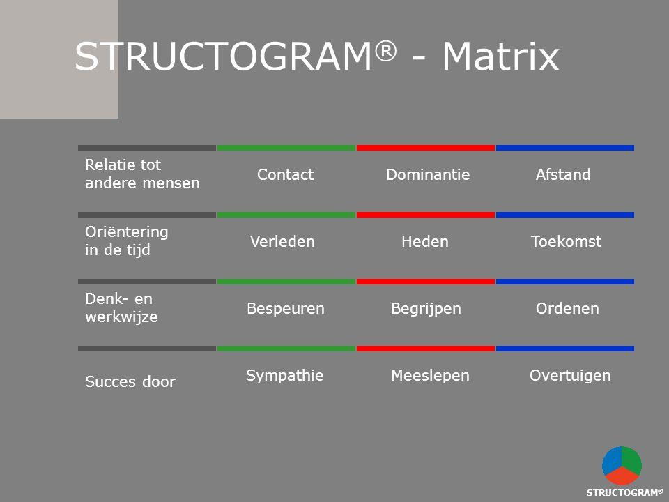 STRUCTOGRAM ® STRUCTOGRAM ® - Matrix Verleden HedenToekomst Bespeuren Begrijpen Ordenen Sympathie Meeslepen Overtuigen ContactDominantie Afstand Relat