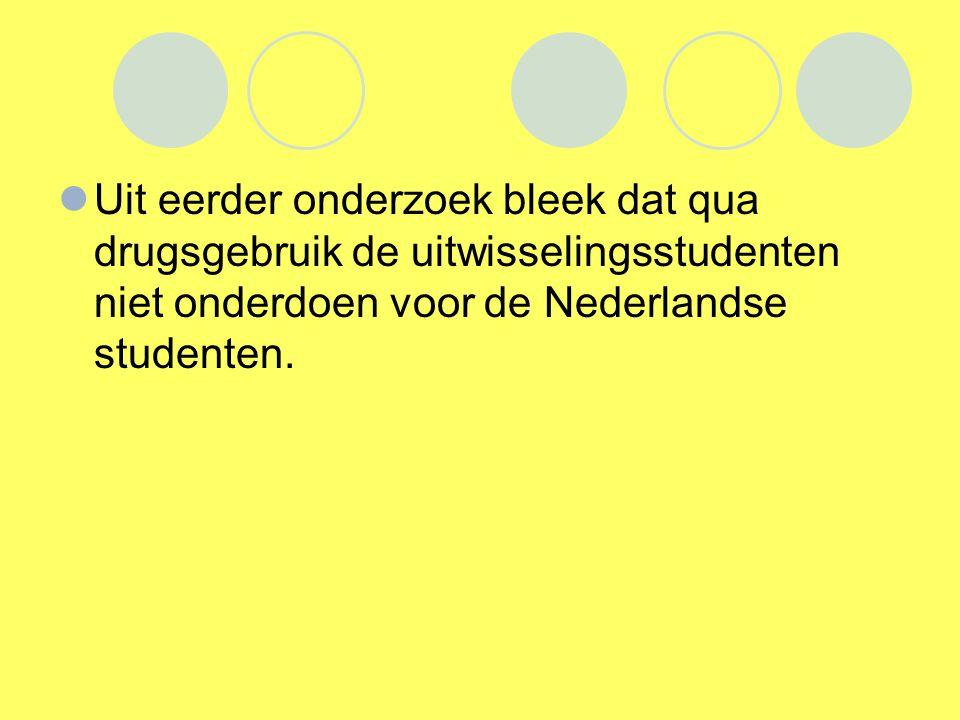 Uit eerder onderzoek bleek dat qua drugsgebruik de uitwisselingsstudenten niet onderdoen voor de Nederlandse studenten.