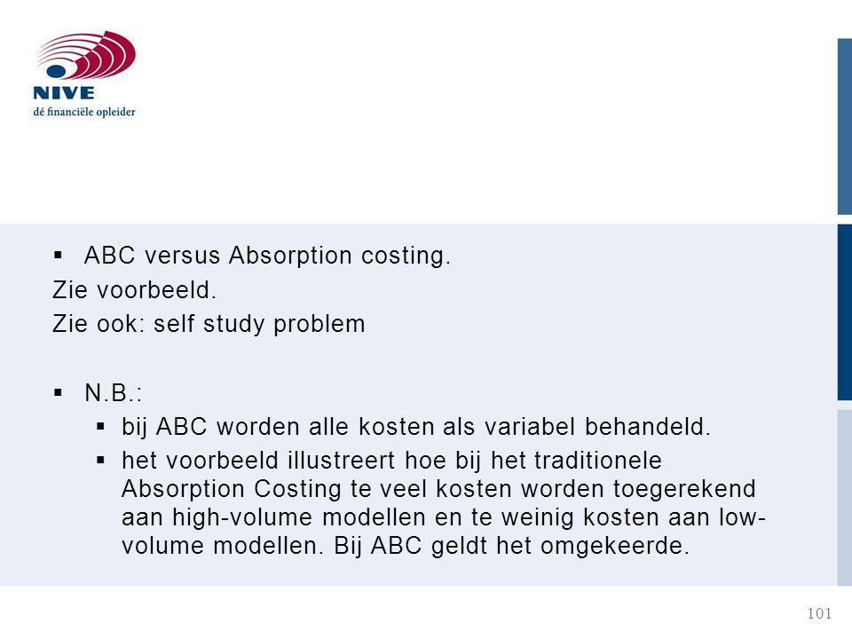  ABC versus Absorption costing.Zie voorbeeld.
