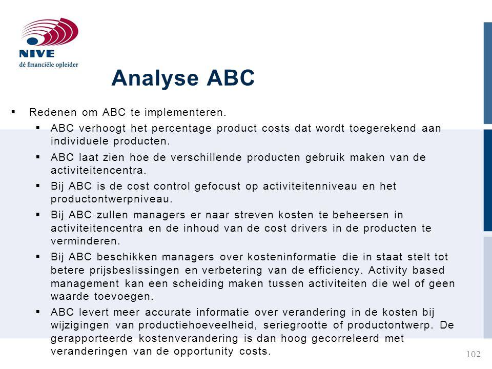 Analyse ABC  Redenen om ABC te implementeren.