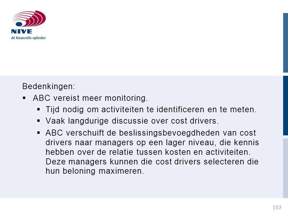 Bedenkingen:  ABC vereist meer monitoring.