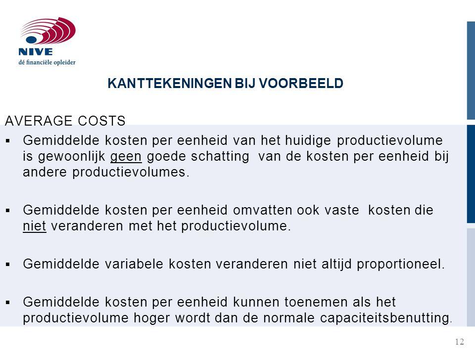 KANTTEKENINGEN BIJ VOORBEELD 12 AVERAGE COSTS  Gemiddelde kosten per eenheid van het huidige productievolume is gewoonlijk geen goede schatting van de kosten per eenheid bij andere productievolumes.