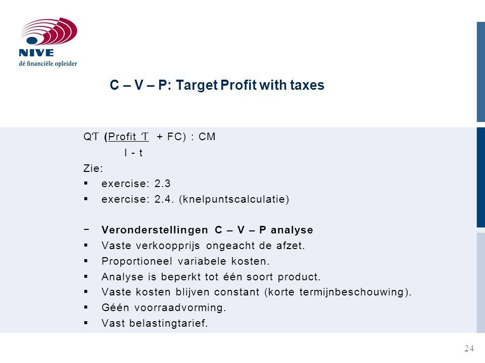 C – V – P: Target Profit with taxes 24 Q Ƭ (Profit Ƭ + FC) : CM I - t Zie:  exercise: 2.3  exercise: 2.4.