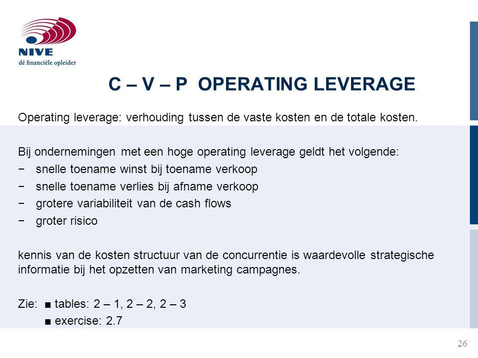 C – V – P OPERATING LEVERAGE Operating leverage: verhouding tussen de vaste kosten en de totale kosten.