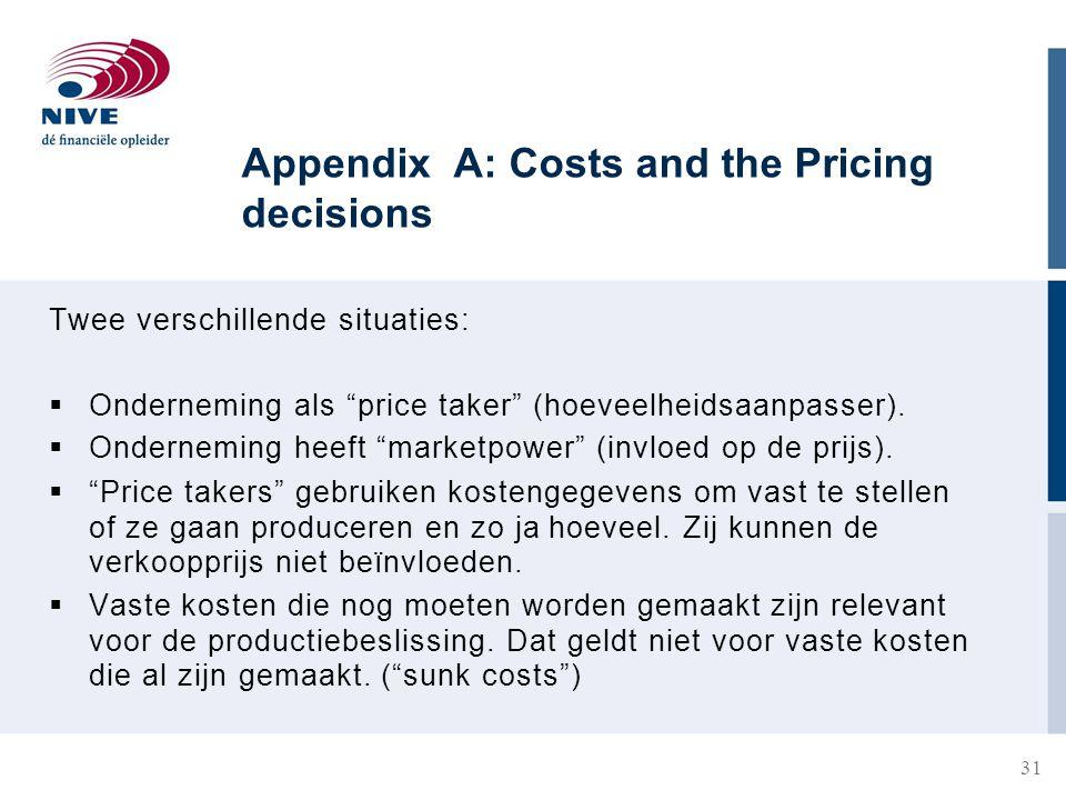 Appendix A: Costs and the Pricing decisions Twee verschillende situaties:  Onderneming als price taker (hoeveelheidsaanpasser).