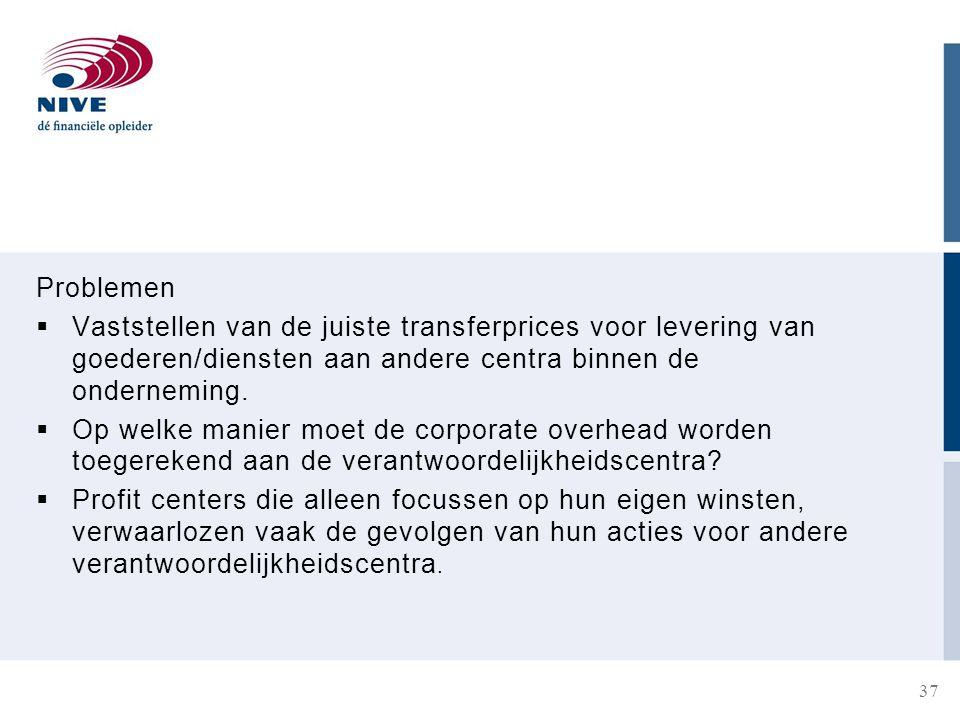 Problemen  Vaststellen van de juiste transferprices voor levering van goederen/diensten aan andere centra binnen de onderneming.