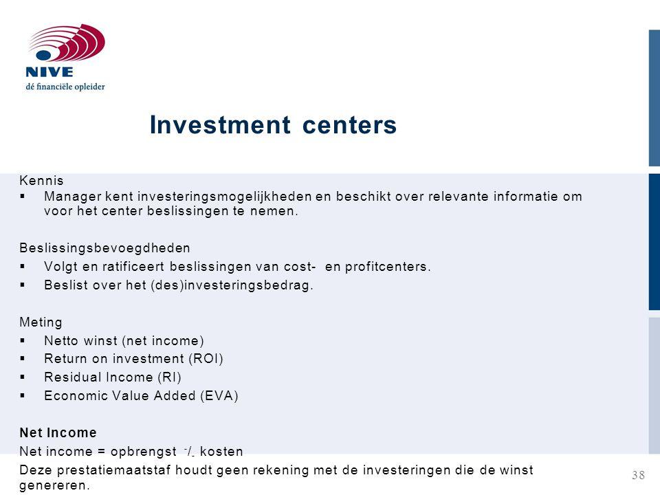 Investment centers Kennis  Manager kent investeringsmogelijkheden en beschikt over relevante informatie om voor het center beslissingen te nemen.