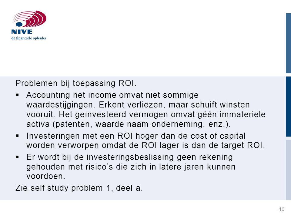Problemen bij toepassing ROI. Accounting net income omvat niet sommige waardestijgingen.