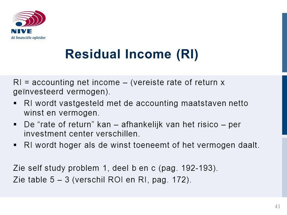 Residual Income (RI) RI = accounting net income – (vereiste rate of return x geïnvesteerd vermogen).