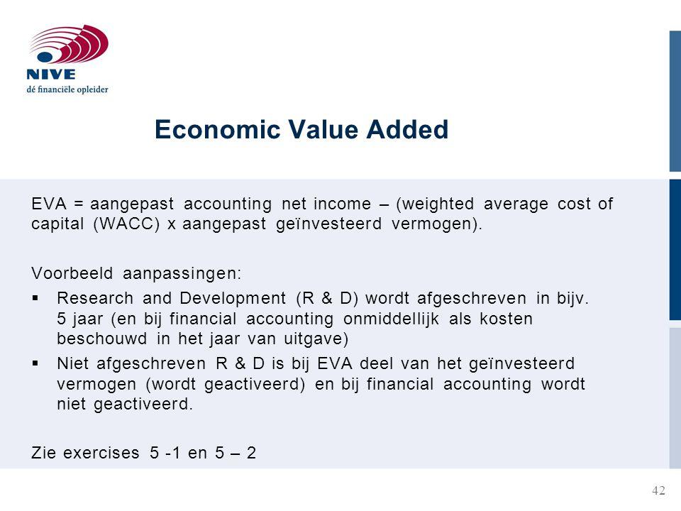 Economic Value Added EVA = aangepast accounting net income – (weighted average cost of capital (WACC) x aangepast geïnvesteerd vermogen).