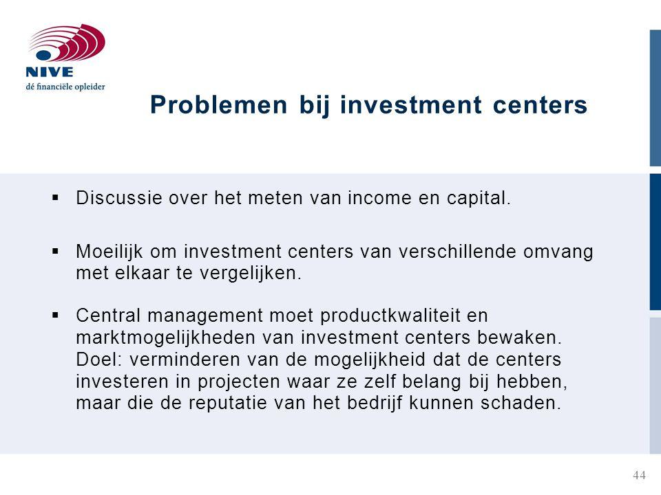 Problemen bij investment centers  Discussie over het meten van income en capital.