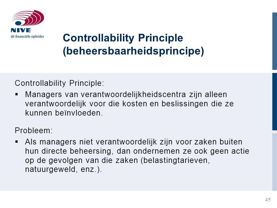 Controllability Principle (beheersbaarheidsprincipe) Controllability Principle:  Managers van verantwoordelijkheidscentra zijn alleen verantwoordelijk voor die kosten en beslissingen die ze kunnen beïnvloeden.