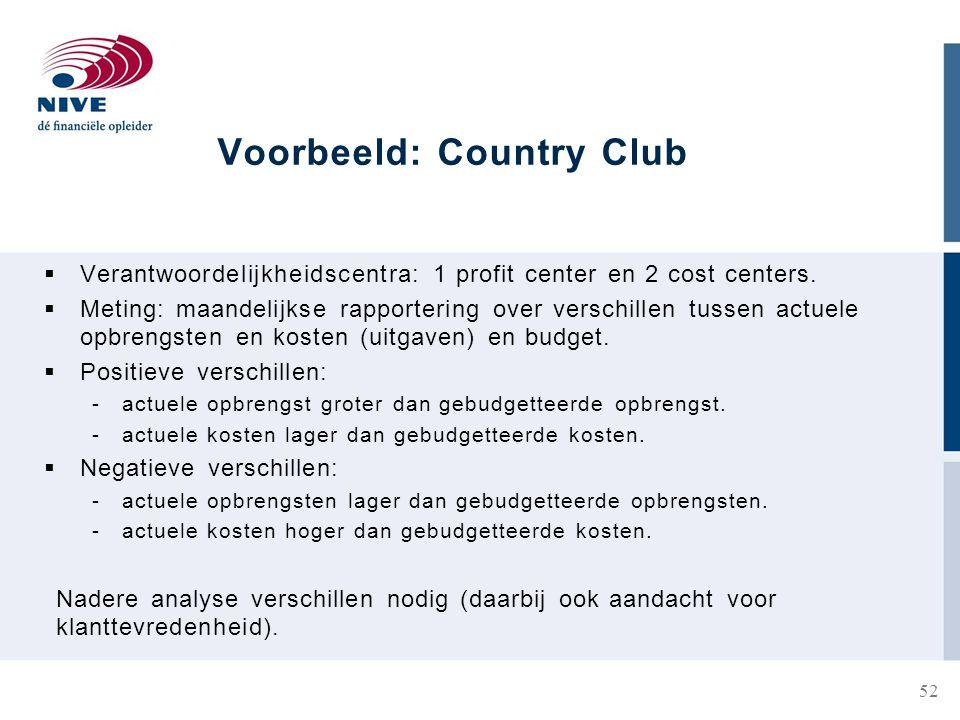 Voorbeeld: Country Club  Verantwoordelijkheidscentra: 1 profit center en 2 cost centers.